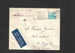 1 Er Courrier Aèrien Parachuté Bruxelles Liége Du 13/09/1946 - Airmail