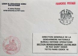 Lettre En FM Du Commandant La Légion De Gendarmerie Mobile D'Ile-de-France + Càd Illustré Maisons-Alfort En 1993 - Cachets Militaires A Partir De 1900 (hors Guerres)