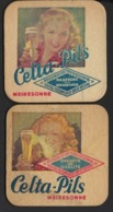CELTA PILS * MEIRESONNE *  TWEE BIERKAARTJES * TWO BEER CARDS * 9.5 X 9.5 CM * - Gent
