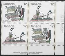 Canada 1977. Scott #750-1 Block (MNH) Inuit Hunting - Unused Stamps