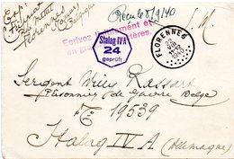 CP Pour Prisonnier De Guerre De Florennes Vers Stalag IV A - WW II