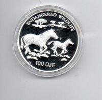 DJIBOUTI 100 DJF 1994 ZILVER  PROOF ENDANGERED WILDLIFE ZEBRA'S - Dschibuti