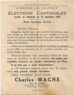 Tract Électoral Elections Cantonales Scrutin Ballotage 30 Septembre 1945 Canton De Gannat (Allier) Charles Magne SFIO - Documents Historiques