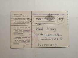 Card Service Of Prisoners Of War Australia 1942 U.S Censorship - 1913-48 Kangaroos