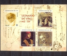 ITALY - MNH - LEONARDO DA VINCI - MI.NO.BL 83 - CV = 8 € - 6. 1946-.. Republic