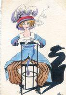 Illustrateur Semblant Signer M S Mais à Identifier - Femme Assise Robe Bleue Et Pantalons - Cigarette - Illustratori & Fotografie