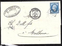 Y.T N° 22  Sur Pli Avec Correspondance De Granges  Pour Mulhouse (1866) - Marcophilie (Lettres)