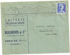 RHONE - Dépt N° 69 = GIVORS 1958 =  FLAMME  RBV  Muette '5 Lignes Ondulées' + En-tête LAITERIE BOURDIN à ECHALAS - Mechanical Postmarks (Advertisement)