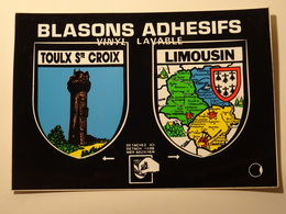 Blason écusson Adhésif Autocollant Limousin Et Toulx Ste Croix Aufkleber Sticker Adesivo Adhesivo - Recordatorios