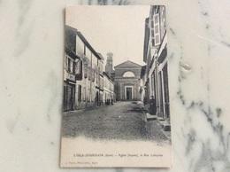 L'Isle-Jourdain.Église ( Façade) Et Rue Lafayette. - Autres Communes