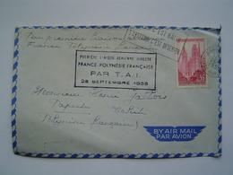 ENVELOPPE Ancienne 1958 : LIAISON AERIENNE PAR AVION COMPAGNIE TAI / FRANCE - PAPEETE / TAHITI / OCEANIE - Polynésie Française