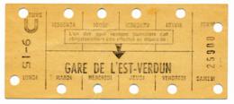 METRO PARISIEN // CARTE HEBDOMADAIRE // GARE DE L'EST-VERDUN - Europe