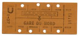 METRO PARISIEN // CARTE HEBDOMADAIRE // GARE DU NORD - Abonnements Hebdomadaires & Mensuels