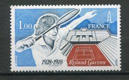 17658 FRANCE N°2012a** 1F Roland Garros Gomme Tropicale + Normal (non Fourni)    1978   TB - Variétés Et Curiosités