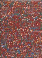 Lot 25,  De 2 Feuille,Papier Marbré  Tourbillons Rouge , Jaune ,Blanc Et Bleu Brillant - Loisirs Créatifs