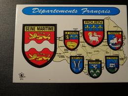 Blason écusson Adhésif Autocollant Seine Maritime Rouen, Le Havre, Dieppe Wappen Coat Of Sticker Adesivo Adhesivo - Obj. 'Remember Of'