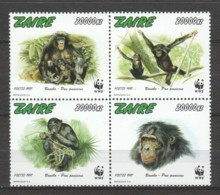 Zaire 1997 Mi 1339-1342A MNH WWF - BONOBO MONKEES - W.W.F.
