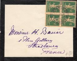 SUISSE ENV 1928 LAUZANNE SUR BLOC DE 4 DU 7 1/2 VERSO PETITE DECHIRURE A L OUVERTURE - Lettres & Documents