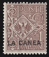 "Italia - Isole Egeo:  LA CANEA (Creta): Francobollo D' Italia 1901/05 ""Floreale"" - 1 C. Bruno - 1905 - Crète"