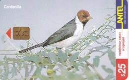 Nº 132 (CHIP G4 NEGRO) TARJETA DE URUGUAY DE ANTEL DE UNA CARDENILLA (PAJARO-BIRD) - Uruguay
