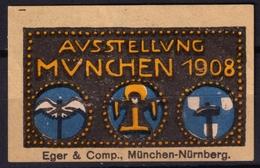 München Ausstellung Exposition / 1908 Germany Bayern - Cinderella Label Vignette - MH - Hammer - Universal Expositions