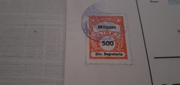 MARCA DA BOLLO COMUNE DI MILAZZO DIRITTI DI SEGRETERIA- 1990 SU FRAMMENTO LIRE 500 - Fiscaux
