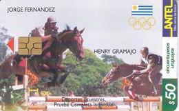 Nº 140 (CHIP G5 ROJO) TARJETA DE URUGUAY DE HIPICA DE 50$ CABALLO-HORSE - Uruguay