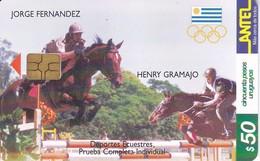 Nº 140 (CHIP G4 NEGRO) TARJETA DE URUGUAY DE HIPICA DE 50$ CABALLO-HORSE - Uruguay
