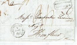 Angleterre Par Calais 4-11-1837 Pour Honfleur Au Dos Cachet New Cattle LONDON Et Honfleur - Marcophilie (Lettres)