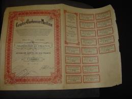 """Action""""Comptoir Charbonnier Maritime""""Anvers Antwerpen 1924 Avec Tous Les Coupons,bords Usés - Navigation"""
