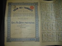 """Action De 25 F """"Union Des Tramways""""Bruxelles 1909 Bon état,avec Tous Les Coupons - Chemin De Fer & Tramway"""