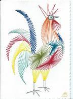 CARTE FANTAISIE ...  COQ BRODÉ - Embroidered