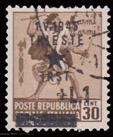 Occupazione Jugoslava: TRIESTE - Monumenti Distrutti Lire 1 Su 30 C. Bruno - 1945 - Ocu. Yugoslava: Trieste