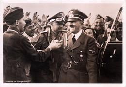 """III. Reich, Propaganda Karte """" Freude Im Fliegerhorst """" Der Führer Mit Soldaten, REKO WARSCHAU ! - Weltkrieg 1939-45"""