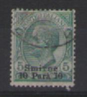 REGNO D'ITALIA LEVANTE  1909-1911 SMIRNE FRANCOBOLLI D'ITALIA DEL 1901-10 SOPRASTAMPATI SASS. 1 USATO VF - Europa- Und Asienämter