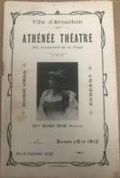 Rare Programme De L'Athenee Theatre à Arcachon (33) Nombreuses Pub Locales Et Artistes - Ete 1912 - Programmes