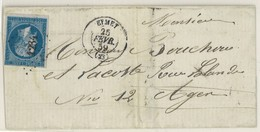 France Yv. 14 Lettre LSC, PC 1234 Eymet, Dep 23 Dordogne, Pothion Ind. 7 EUR 35 (379) - 1849-1876: Classic Period