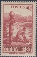 Ivory Coast, Scott #166D, Mint Hinged, Rapids On Comoe River, Issued 1944 - Unused Stamps