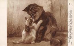 20-6115 : SALON DE PARIS. CHATTE ET SON PETIT PAR F. OGER. - Peintures & Tableaux