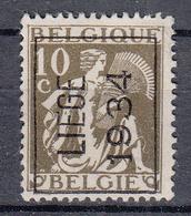 BELGIË - PREO - Nr 285 A (CERES) - 'LIEGE 1934' - (*) - Typo Precancels 1932-36 (Ceres And Mercurius)