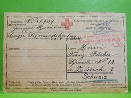Correspondence Prisonniers De Guerre, Witkowitz 1917 Envoyé à Zurich Schweiz - 1914-18
