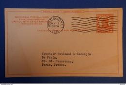 B71 ETATS UNIS D AMERIQUE CARTE 1930 NEW YORK POUR PARIS BD HAUSSMANN + AFFRANCHISSEMENT PLAISANT - Lettres & Documents