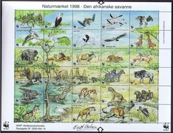 Denmark WWF 1998.  Sheet  With 30 Labels;  The African Savannah - Non Classificati