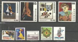 Denmark 1993-1999 Small Lot With Unused Stamps Face Value DKR 65, Paintings, Tivoli, - Dänemark