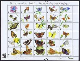 Denmark WWF 2000.  Sheet  With 30 Labels; Danish Butterflies - W.W.F.