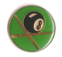 C27 Pin's Billard Boule 8 NOIRE Verte Achat Immédiat - Billares