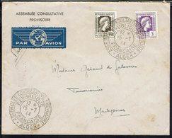 Algérie - 1944 - Assemblée Consultative Provisoire République Française Alger - Affr. 216-17 Sur Env. Pour Tananarivo - - Algeria (1924-1962)