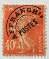 Préoblitéré YT 64 (°) Obl Semeuse 40c Vermillon (194) (côte 12,5 Euros) – 3bleu - 1893-1947