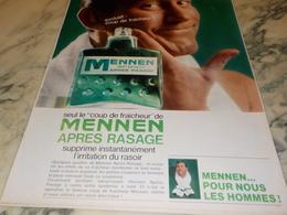ANCIENNE  PUBLICITE   APRES RASAGE MENNEN 1969 - Parfums & Beauté