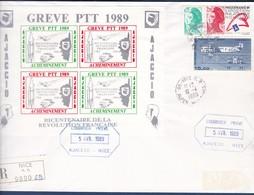 TIMBRES DE GREVE AJACCIO-NICE EN BLOC DE 4  COURRIER PRIVE 5 AVR/10 AVRIL 1989 - Grève